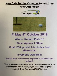 New date for the Caunton TC Golf Afternoon - Friday 4th October 2019